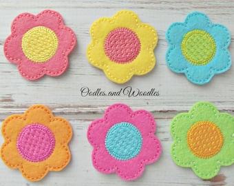 Felt Flower Appliques, Set of 6 Colorful Flower Appliques, Flower Appliques, Spring Flower Felties, Colorful Spring Flower Appliques