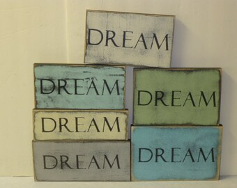 DREAM WALL SIGN / dream / wood dream sign / dream sign / hand painted sign / shabby chic sign / kids room decor / wood wall sign / baby gift