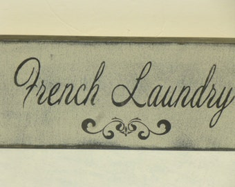 FRENCH LAUNDRY SIGN / laundry room sign / hand painted sign / laundry sign / French sign / French Laundry / laundry room decor / French chic