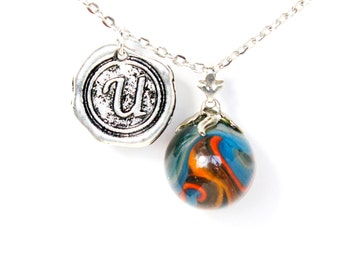 CHOOSE YOUR INITIAL A-Z charm vintage 40s - 60s blue orange glass marble layering necklace