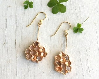 Honeycomb Earrings, Honey Gold jewelry, Dangle Earrings, Bronze Beehive Clover C&S