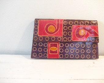 Vintage Purple and Pink Leather Clutch Style Purse- Made in India