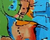 24 x 30 inch original Jeff Hughart folk outsider abstract art painting - PIROUETTE