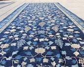 20 ft x 7 ft - Large Indigo Blue Chinoiserie Art Deco Rug