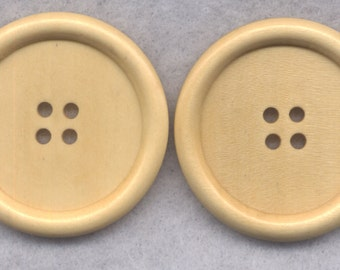 Natural Brown Wood Buttons Wooden Buttons 40mm (1 5/8 inch) Set of 4/BT514