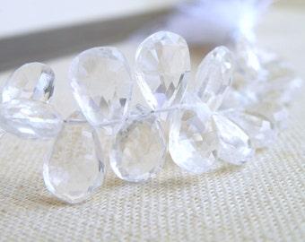 Quartz Gemstone Briolette Rock Crystal Faceted Pear TearDrop 10.5 to 11.5mm 14 beads