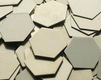 Nickel Silver Hexagons - 20 ga, stamping blanks, Bopper, metal stamping blanks, stamping supplies, etching blanks, embossing blanks, hexagon