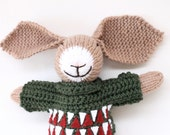 Rolf a handmade knitted Christmas bunny rabbit soft children's toy wearing crochet clothes, handmade toy, hand knitted toys, bunny toy