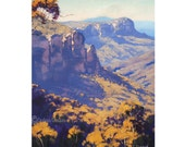 Blue Mountains Oil PAINTING Katoomba Jamison Valley Australian Landscape Art on Canvas