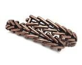 Copper Bracelet - Copper Bangle, Copper Jewelry, Adjustable, Boho,1970s, Wrap, Herringbone Stack Bracelet