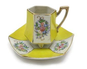 Yellow Geometric Teacup - Japanese Porcelain Demitasse Cup & Saucer