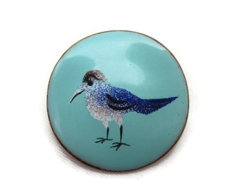 Enamel on Copper Brooch - Painted Seagull