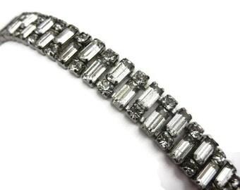 Art Deco Bracelet - Vintage Rhinestone Bridal Jewelry Sterling Silver Clear Stones
