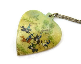 Persian Hand Painted Pendant - Mother of Pearl Shell