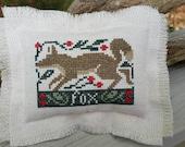 Fringed Mini Pillow Fox with Flowers Prairie Schooler Cupboard Tuck