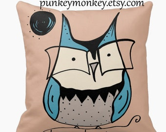 Owl pillow 16x16 square toss pillow owl wearing glasses kids pillow room decor woodland rustic geekery nerd librarian