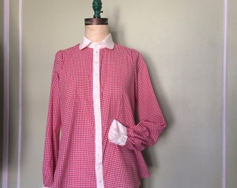 Gingham smock blouse