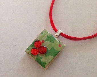 Holly and Berries Christmas and Holiday Scrabble Tile Pendant Party Favor