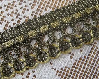 Vintage Japan 1960s Metallic Sewing Trim Ribbon Black And Gold  1 Yard  J-7