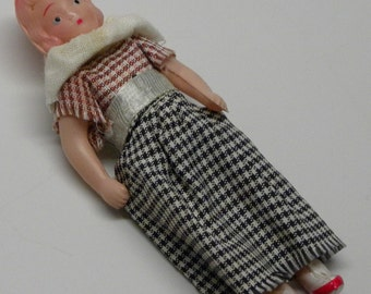 Small 1930s Depression Era CELLULOID DOLL Original Dress  Hand Painted Features Reticulated MINT
