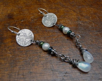 Long Dangle Etched Silver Cherry Blossom Pattern with Pearls and Moonstones