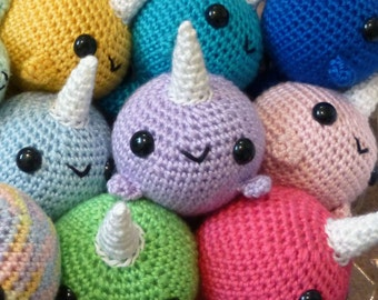 Custom Crocheted Narwhal Amigurumi Plushie - Choose Your Own Big Narwhal Plush, Any Color - MADE TO ORDER