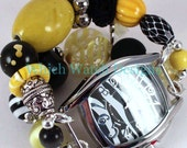 Shabby Chic Bumblebee.. Darling Yellow, Black and White Interchangeable Watch Band