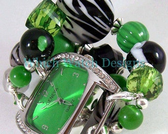 SALE Green Zebra.. Chunky Kelly Green, Black and White Interchangeable Beaded Watch Band, Stretchy