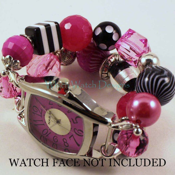 Bubble Gum and Licorice.. Hot Pink, Black and White Chunky Interchangeable Beaded Watch Band
