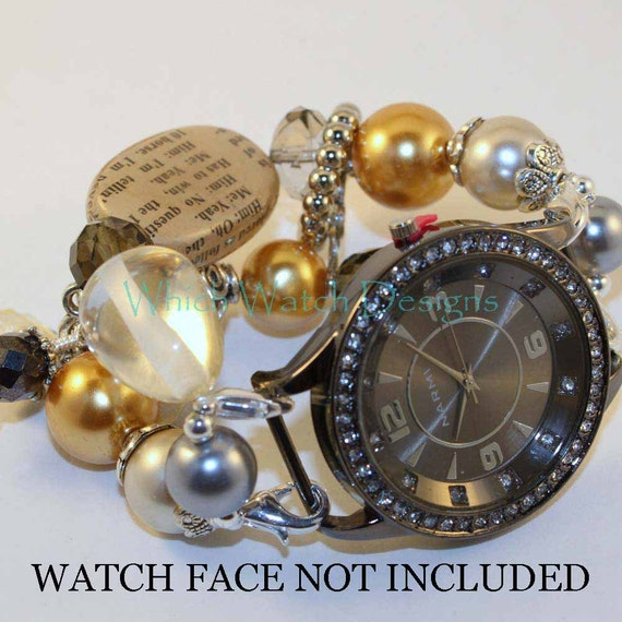 SALE Shabby Chic Newsworthy.. Stunning Butter Yellow and Smokey Gray Interchangeable Beaded Watch Band, Silver Plated