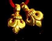 18k Solid Yellow Gold Handmade Fleur De Lis Charm Pendant PAIR