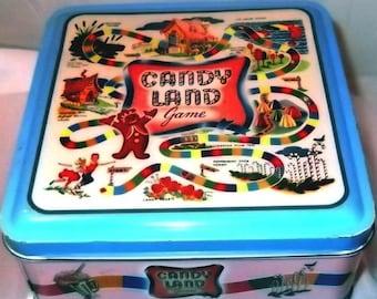 Candy Land Tin Box Filled with Vintage Destash, Sewing Supplies, Fat Quarter, Vintage Hanky, Rhinestones, Ric Rac, Ribbon
