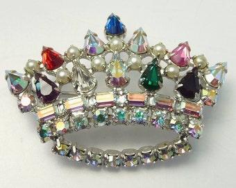 Vintage B David Rhinestone Crown Brooch