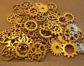 40g Goldtone GEARS ONLY 1/2-1 Inch Medium to Large NeW CLoCK Watch Style STEAMPUNK Wheels Cogs Parts Pieces