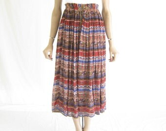 Vintage 80s Gauze Cotton  Sheer Boho Midi Skirt