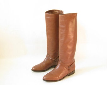 Vintage 80s Brown Leather Tall Harness Riding Boots.  Size 6 1/2