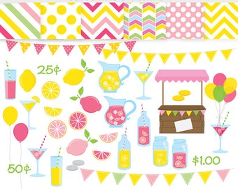 Lemonade clipart - pink lemonade stand clip art, summer, fruit, spring, lemons, shop stand, papers, yellow, green, pastel bunting commercial