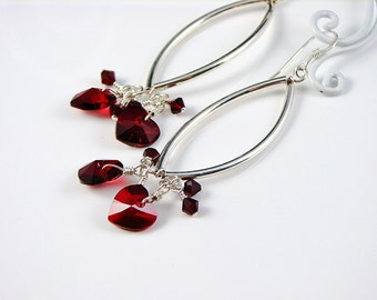 Handmade Curvy Sterling Silver and Cherry Red Crystal Heart Earrings - Long - Linear - Siam