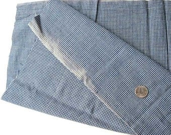 Antique 1920 Vintage Tiny Blue and White Cotton Check Homespun Cotton Fabric, Creative Use, Textiles