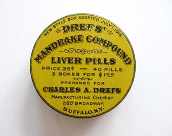 Vintage 1916 Lithographed Medical Advertising Tin, Dref's Mandrake compound Liver Pills, Yellow and Black