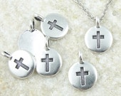 Tiny Cross Pendant Antique Silver Pendant TierraCast Cross Charm Silver Cross (P1239)
