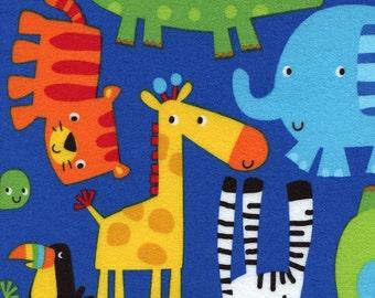 Jungle Animal Blue FLANNEL Timeless Treasures Fabric 1 yard