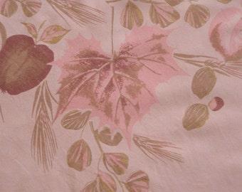 Vintage Pink TABLECLOTH ~ Fruit Leaves