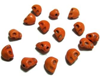 8mm skull beads in Orange 15pcs