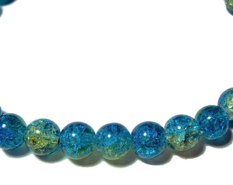 10mm Crackle glass round beads blue and yellow 20 beads