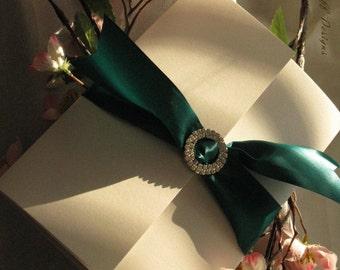 Tri panel folded card invitation with ribbon & jewel invitation (Sample)