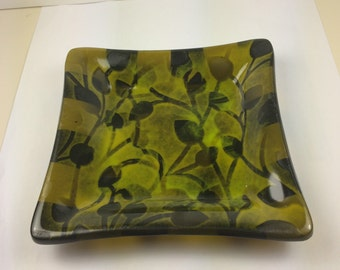 Olive green and black with yellow accents and vine overlay fused glass dish