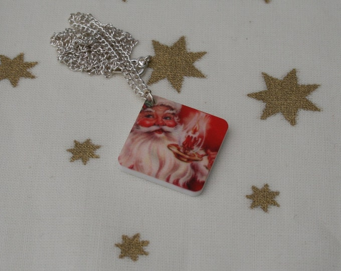 Father Christmas Necklace, Santa Claus Illustration Necklace