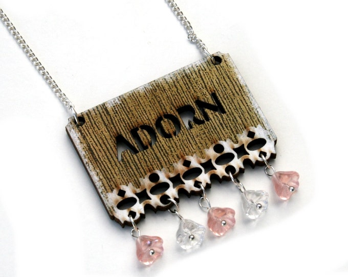ONE DAY SALE - Inspirational 'Adorn' Necklace, Flower Necklace, Wood Jewelry