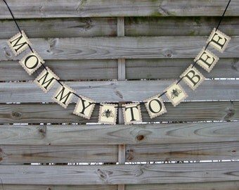 Mommy to Bee banner - Baby Shower Bunting Decoration - Bee Themed Baby Shower Garland